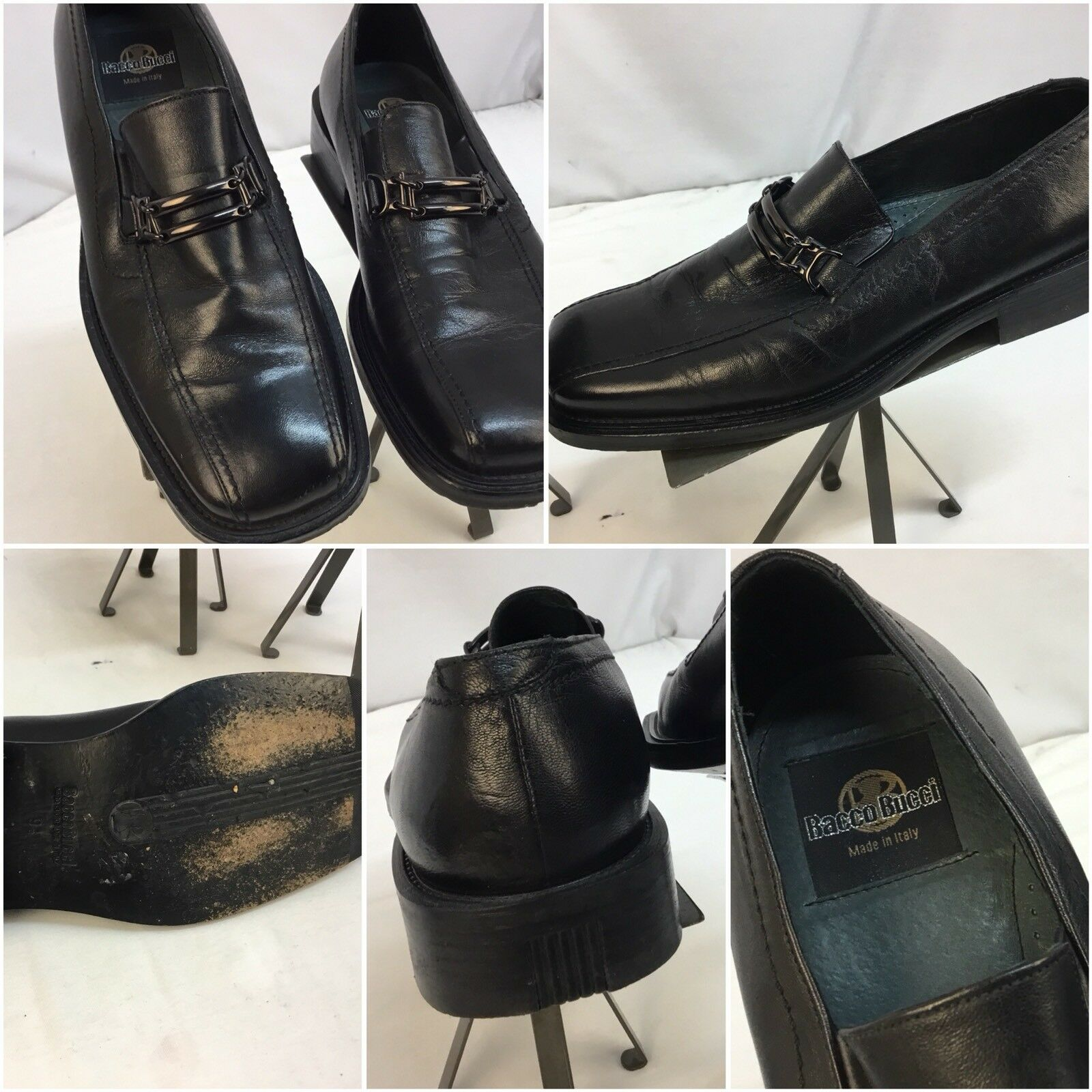 Bacco Bucci Loafers Slip On Shoes Sz 9.5 Men Black Made Italy YGI L7