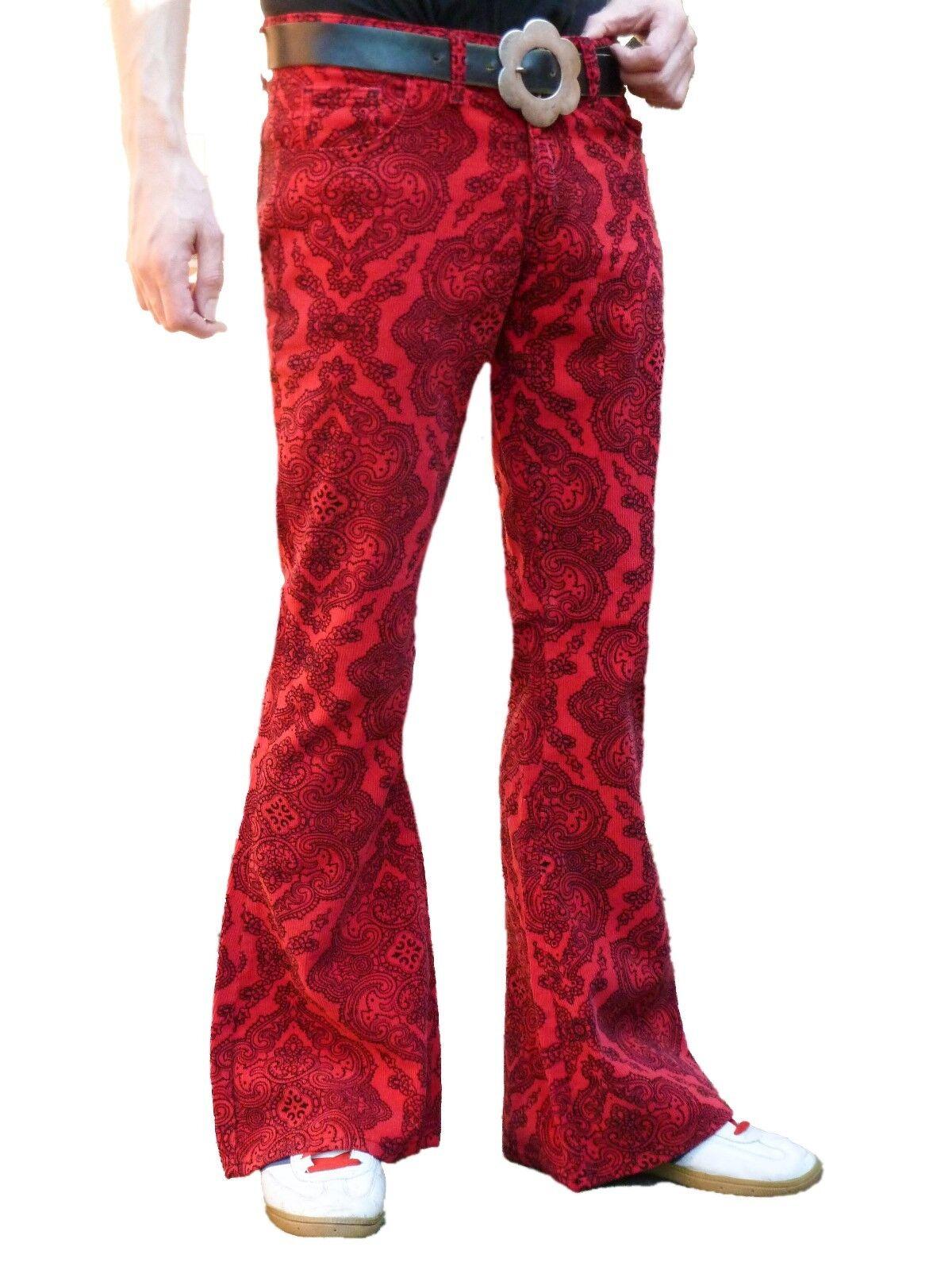 Emitido rojo paisley señores golpe pantalones Cord  pantalones VTG hippie años 60s 70s  Más asequible