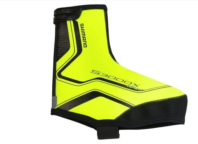 Shimano S3000X Trail NPU+ 3mm Neoprene overshoes cycling booties Hi Viz Yellow