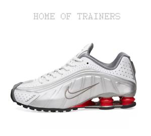 Dettagli su Nike Shox R4 Bianco Argento Metallizzato Rosso BAMBINA DONNA  Tutte le Taglie