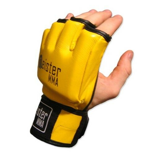 MEISTER YELLOW 4OZ ULTIMATE MMA GLOVES PRO FIGHT LEGAL LEATHER OPEN PALM UFC