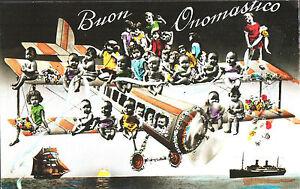 CARTOLINA-D-039-EPOCA-AUGURALE-BUON-ONOMASTICO-BAMBINI-1910