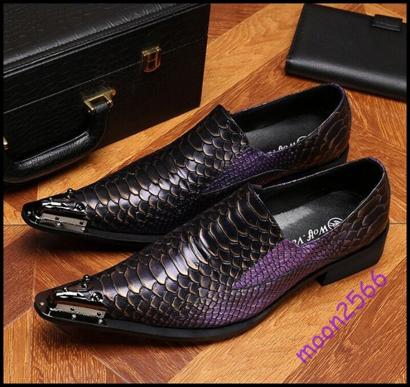 Uomo Europe Business Dress Shoes Slip On Pointy Toe Crocodile Print Nightclub Sz