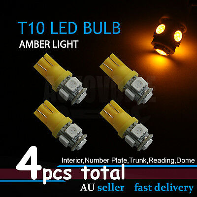 4x Amber T10 W5W 168 5LED Dash Wedge Trunk Side Tail No.Plate Parker Light Bulb