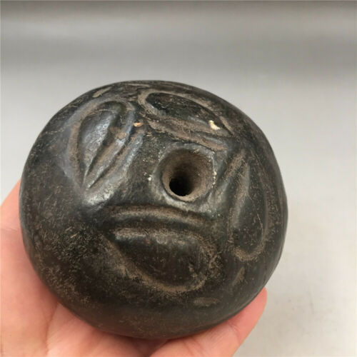 China old hongshan Culture black Meteorite iron carved beast face Beads statue