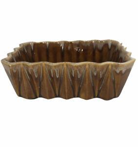 UPCO Brown Drip Glaze Ceramic Pottery Pleated Pot Planter 277 Mid-Century MCM
