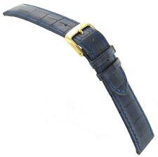 14mm Di-Model Bali Alligator Grain Navy Blue Genuine Leather Stitched Watch Band
