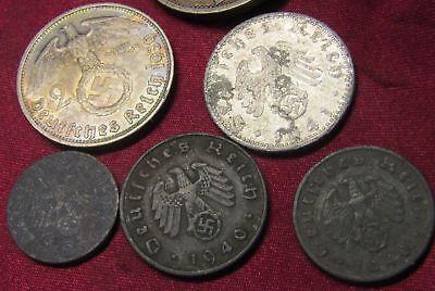 10 pfennig 1 #7 5 2 Set of 8 coins Germany WWII 2 Reichsmark