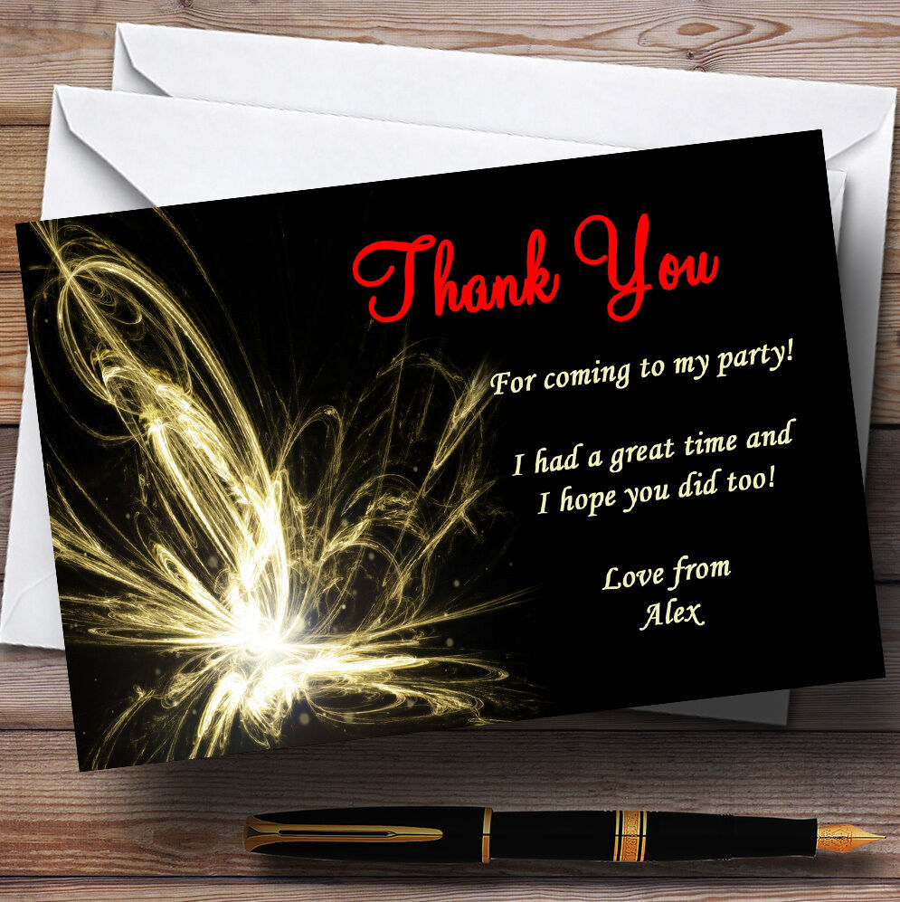 Champagne Supernova Personalised Party Thank You Cards