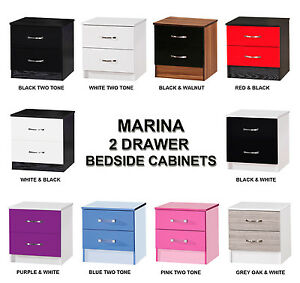 Marina-High-Gloss-2-Drawer-Bedside-Cabinets-Modern-Furniture-Bedroom-Units