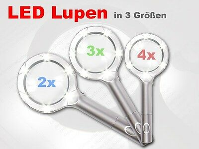 LED Lupe Handlupe Leuchtlupe Lupenleuchte Leselupe Folien 2-4-fache Vergrößerung