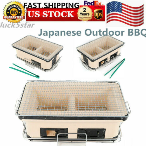 Table Top Hibachi Portable Charcoal Grill Ceramic Grill Outd