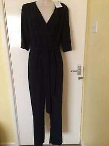 Zara Navy Blue Long Crossover Jumpsuit With Details On Sleeves Size M, Uk10