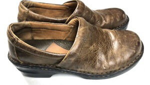 B-O-C-Women-039-s-7-M-Brown-Leather-Clogs-Slip-Ons-Shoes-Occupational-2-034-Heel-b1p