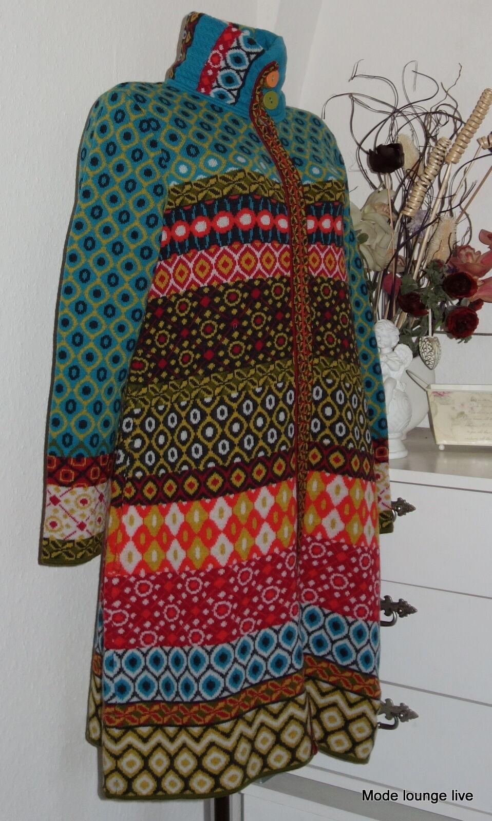 IVKO Wool Coat James Dean Geometriskt mönster PETROL Anthracite 52521