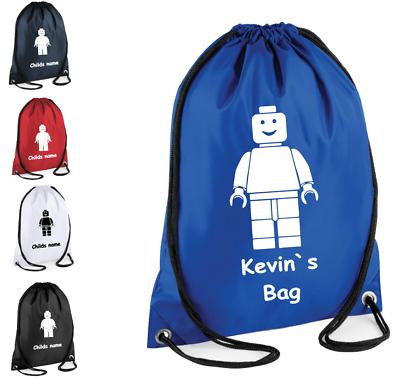 Personalised Lego Evolution Football Kids Childrens Gym bag Drawstring School PE