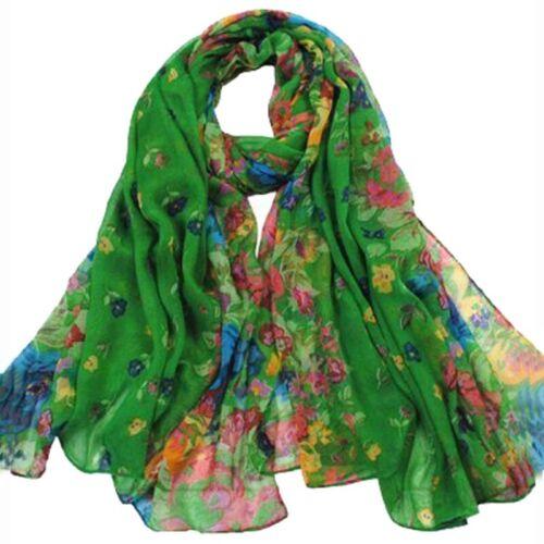 Frauen Fruehling Herbst Mode Dunkelgruen weichen grossen langen Schal Vintage 1E