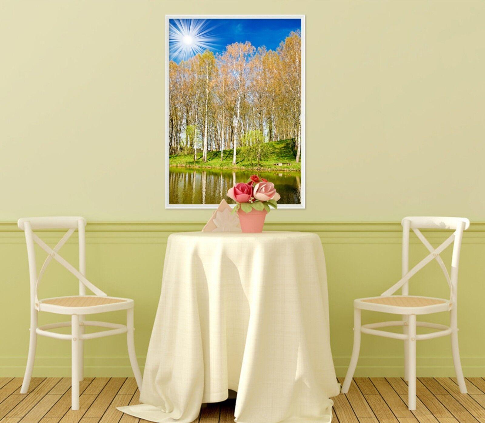 3D Lakeside Birch Forest 2 Framed Poster Home Decor Print Painting Art WALLPAPER