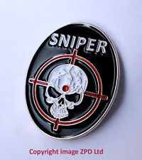 ZP252 Special Forces Sniper Skull Crosshair Army Combat pin badge Gamer Rifle