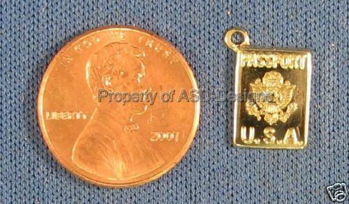 50pc Gold Plated U.S.A Traveling Passport Charms 5623