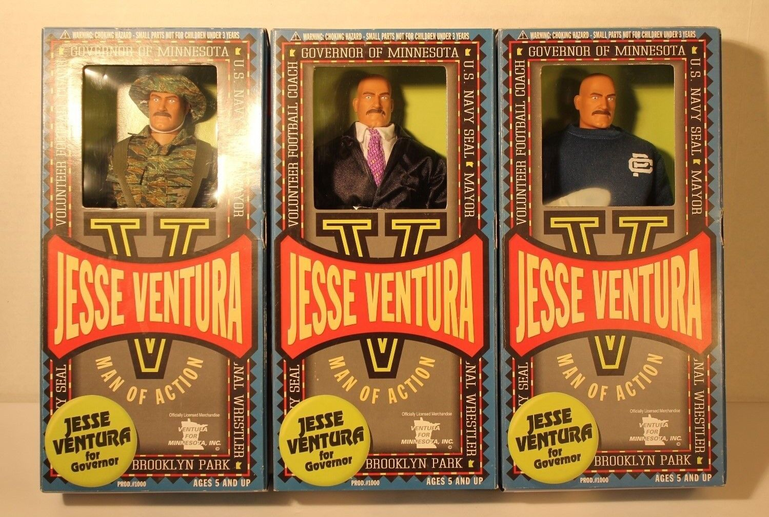 Jesse Ventura Action Figure Dolls Full set of 3 (HKYC55-611) NEW 1999