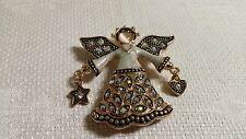 Kenneth Cole Enameled Goldtone Metal AB Crystal Angel Brooch Pin