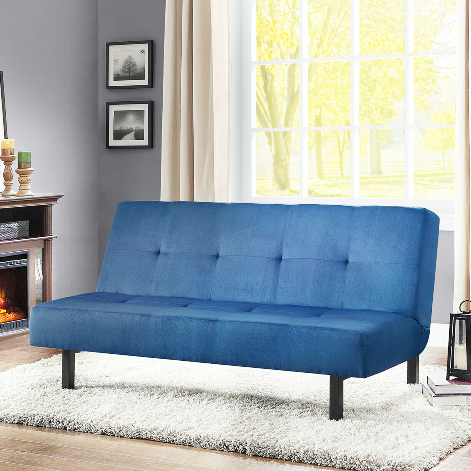 Tufted Futon Sofa Bed Convertible Lounger Living Room Contemporary Furniture