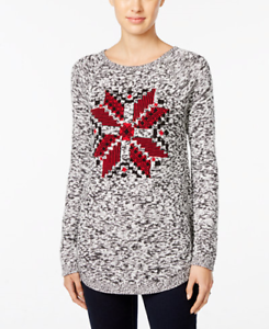 Details About Style Co Petite Marled Snowflake Sweater