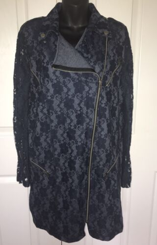 Zip Lace Asos Sleeve Asymmetrisk 6 Mørkeblå Coat Sz Duster Moto IqwwOTdxng