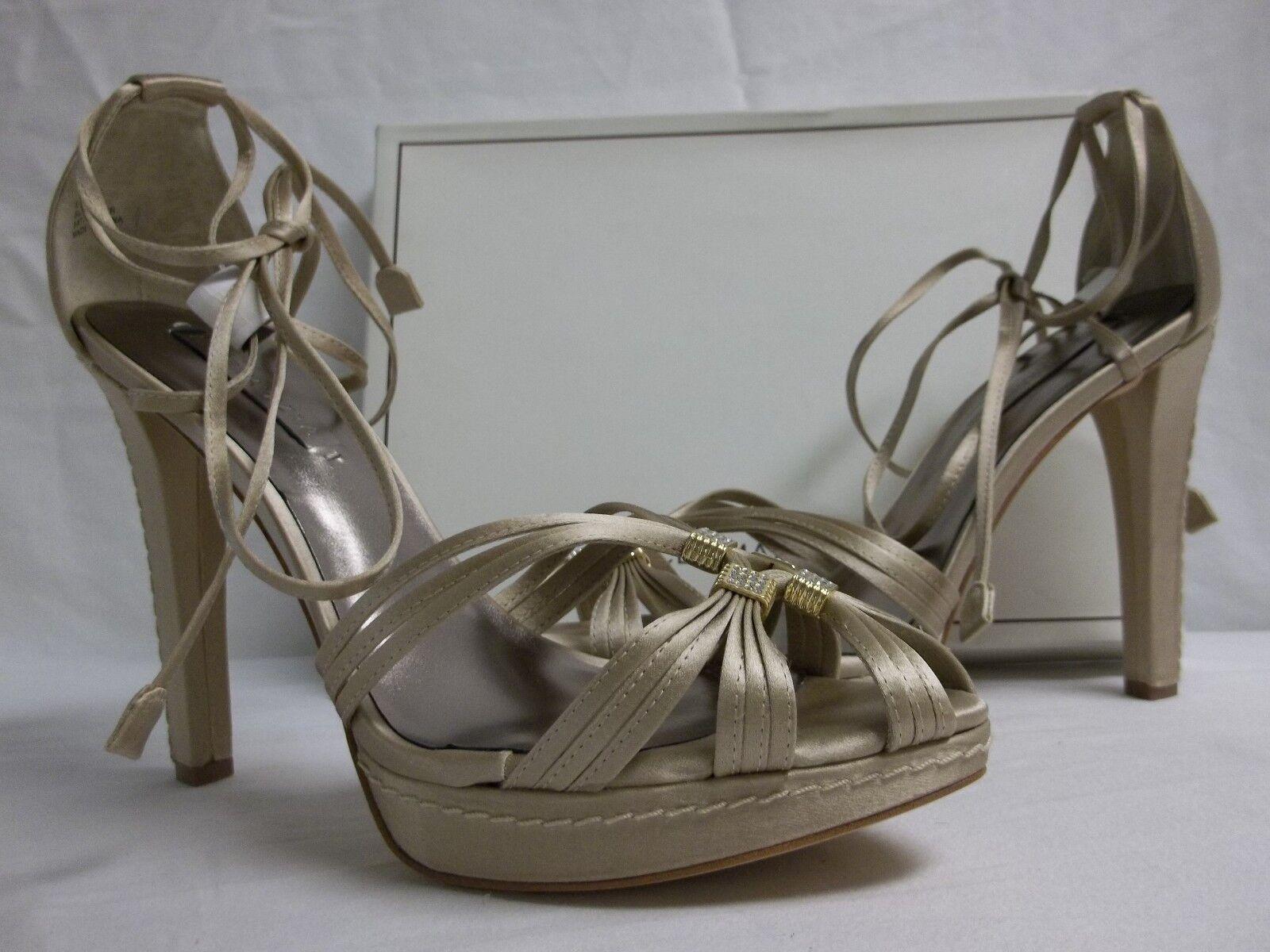 Bcbg Max Azria Talla 10 M Elise Elise Elise Champagne satén Puntera abierta Tacones nuevo Zapatos para mujer  ventas directas de fábrica