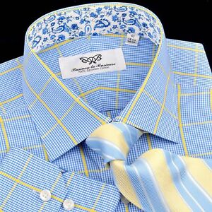 Blue-Yellow-Paisley-Dress-Shirt-Designer-Formal-Business-Casual-Sexy-Cool-Style