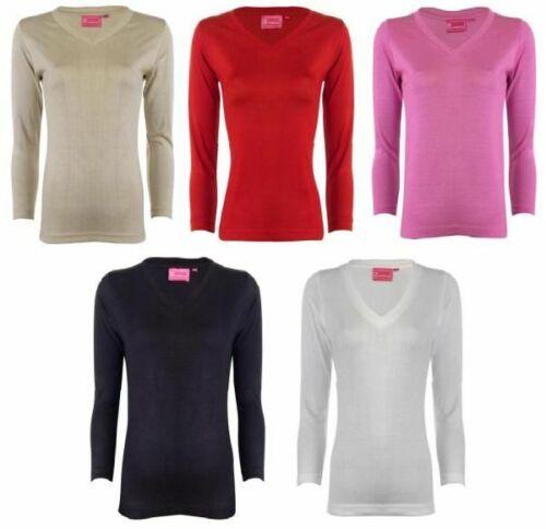 NEW LADIES JUMPER PLAIN LONG SLEEVED V NECK WOMENS SWEATER TOP 5 COLOUR S,M.L,XL