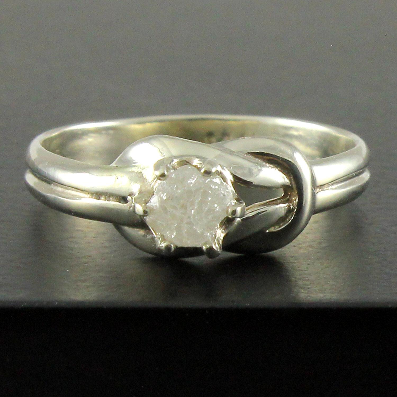 0.60 cts uncut white raw Diamond Ring, rough diamond Ring 14kt White gold Ring