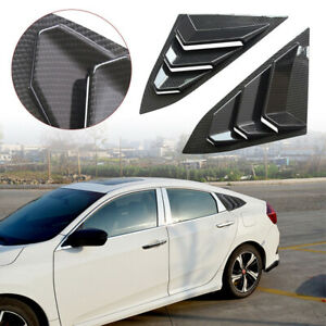 Pair Side Window Scoop Louver Cover Matte Black for Honda Civic 2016 2017 2018