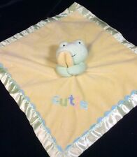 Just One Year Carters Yellow Green Cutie Frog Security Baby Blanket Lovey Satin