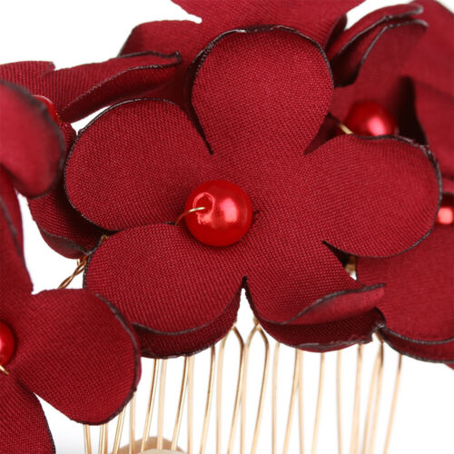 Hair Jewelry Hair Combs Bridal Clips Bridesmaid Tiara Red Flower Hair Pin