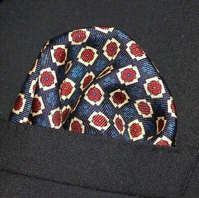 Mouchoir De Poche Carré Coton Mouchoir DK Bleu avec Rectangle Rouge CH208