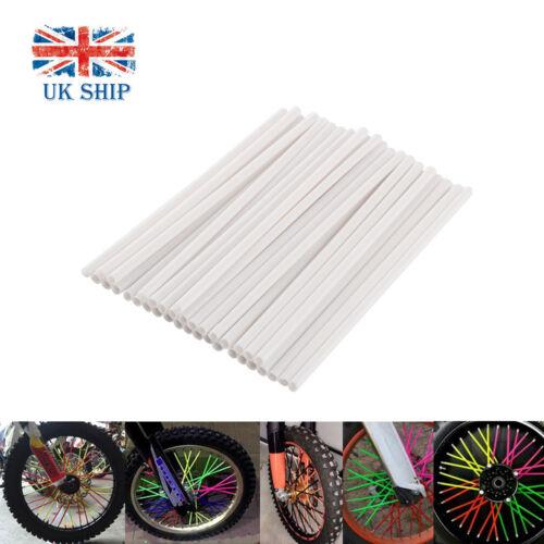 36pcs Motorcycle Dirt Bike Wheel Spoke Wraps Skins Coat Trim Cover Pipe White UK