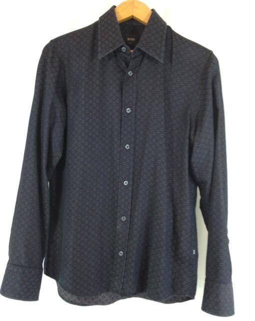 Hugo Boss Slim Fit Men's Long Sleeve Black Abstract Pattern Casual Shirt S
