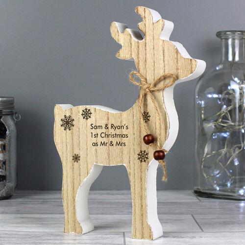 Personalised Christmas Reindeer Vintage Decorations Wooden Rustic Memorial