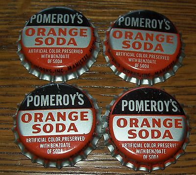 Lot of 4 Vintage Pomeroy's Orange Unused Soda Pop Bottle Caps 1960's Cork Lined