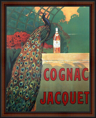 COGNAC JACQUET Peacock Vintage Poster Reproduction Cappiello Wood Walnut Frame