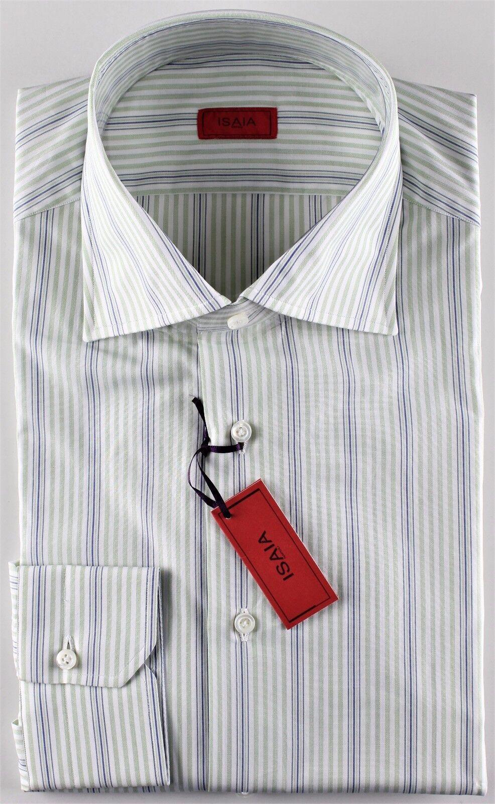 NWT ISAIA DRESS SHIRT striped green bluee white luxury handmade  44 17 1 2