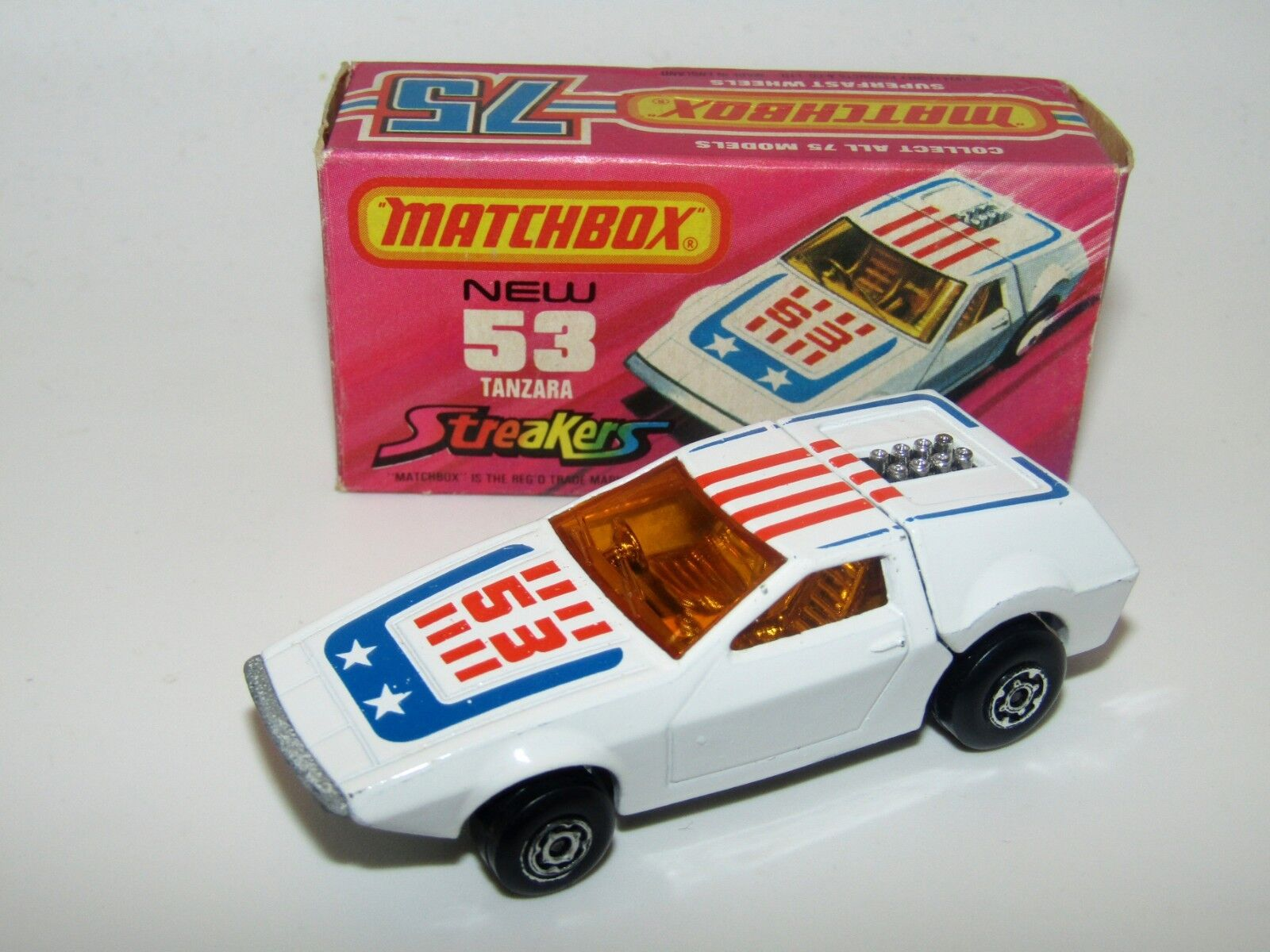 MATCHBOX SUPERFAST nº 53 Tanzara streakers Orange tampo NMIB très rare