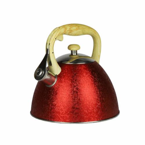 3L Kessel Wasserkocher Wasserkessel Pfeifkessel Teekessel Flötenkessel 3L rot