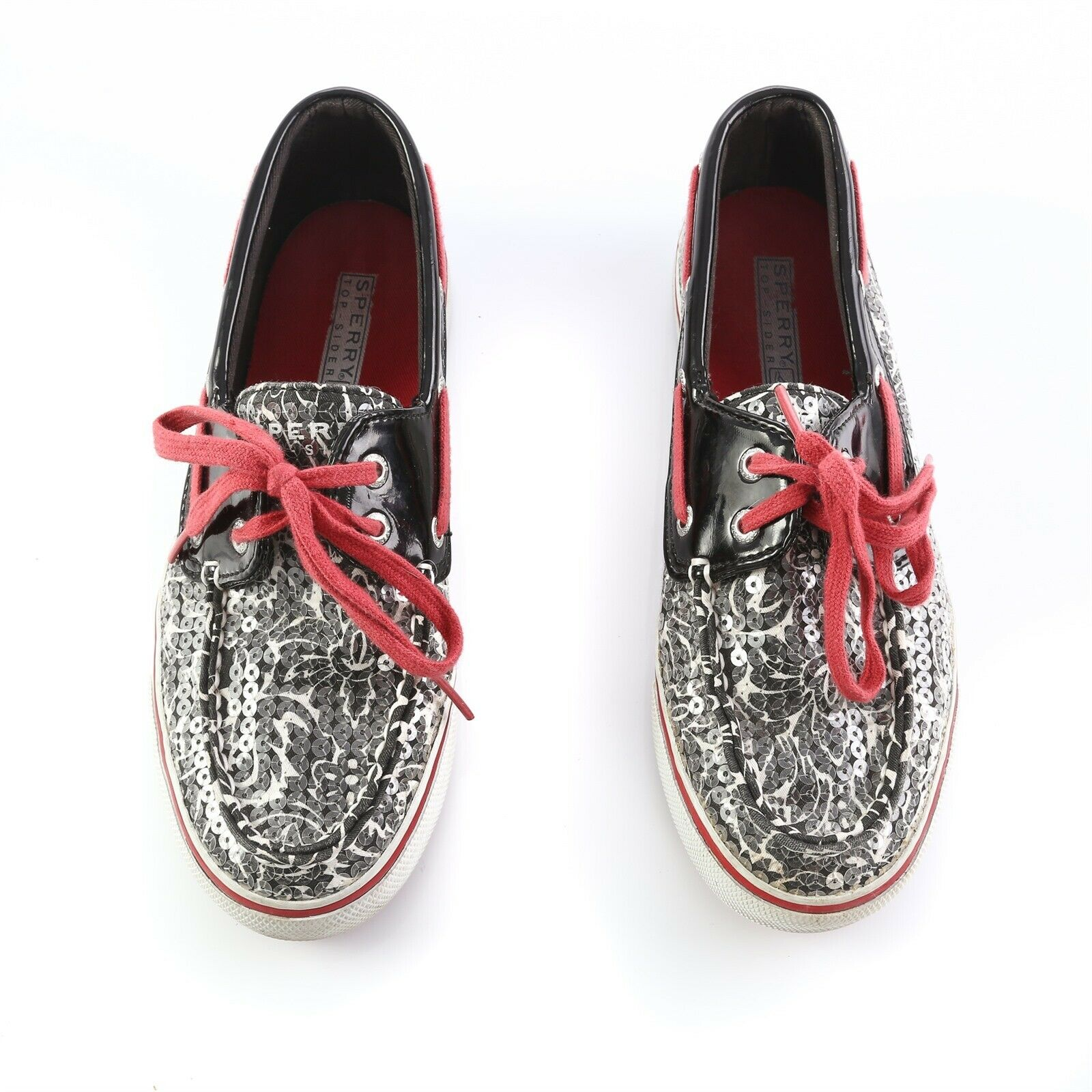 Sperry Top Sider Black Gray Floral Sequin Boat Shoes Loafers Casual Womens 6 M