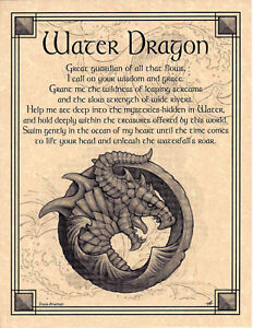Elemental-WATER-DRAGON-Invocation-Page-Poster-Guidandce-Wicca-Pagan-8-1-2-x-11