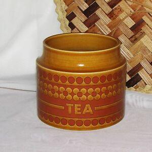 HORNSEA-SAFFRON-TEA-CANISTER-1970-039-S-FLORAL-GOLD-JAR-NO-LID-LID-VINTAGE-RETRO