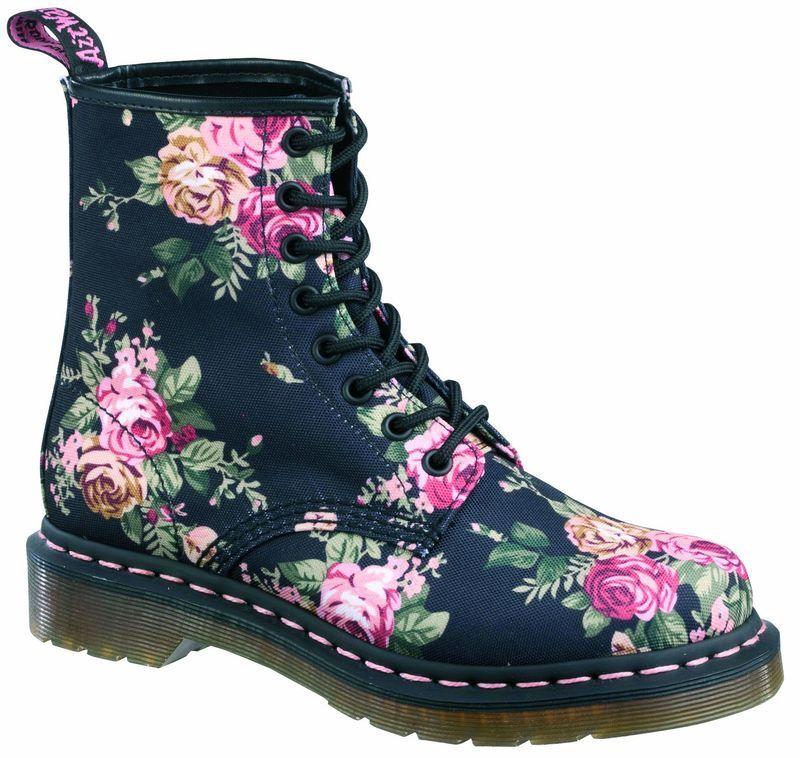 Dr Martens doc 8 agujero 1460 Victorian Flowers Black 11821016 el original