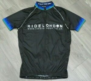 OFFICIAL RIDE LONDON CYCLING WOMEN'S BLACK ZIP SHORT SLEEVED JERSEY TOP XL LARGE